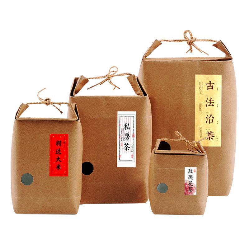 Подарочная обертка 10 шт. Пододавая упаковку бумаги Kraft Paper с четкой оконной картонной коробкой для рисового чая.