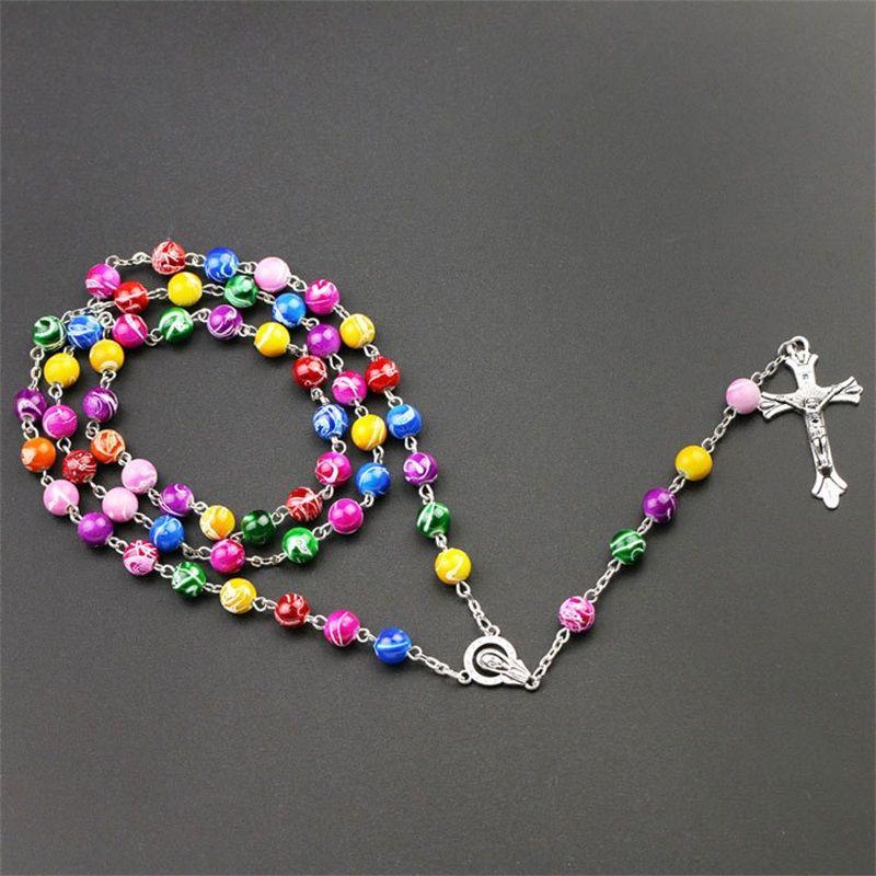 جديد الدينية قوس قزح الكاثوليكية الوردية الطويلة قلائد يسوع الصليب قلادة 8 ملليمتر حبة سلاسل للنساء الرجال s fashion rimetian jewely 85 k2