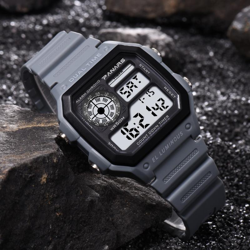 Üst Marka Dijital İzle Erkekler Işık Aydınlık Elektronik Spor Saatler Chronograph Alarm LED Kare Arama Erkek Reloj Hombre Saatı