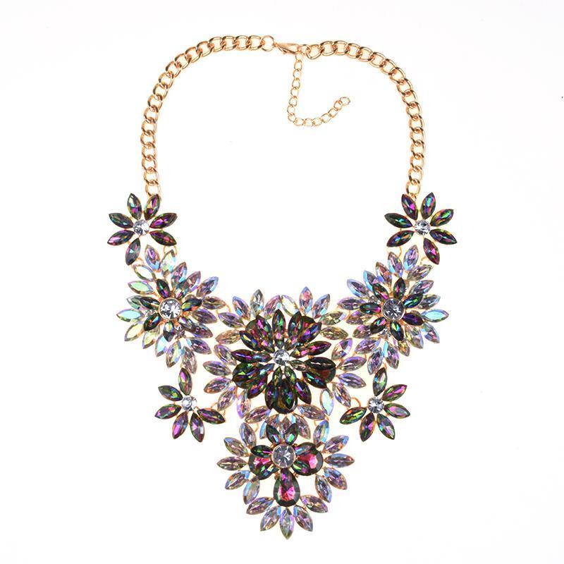 Vintage Schmuck Maxi Halskette 2021 Design Mode Multicolor Strass Blume Aussage Halsketten Anhänger Für Frauen Chokers