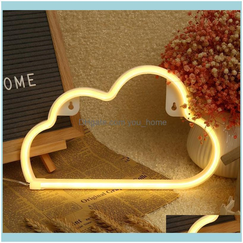 Event Festive Party Supplies & Gardenparty Decoration 1Pcs Led Cloud Neon Light Sign Night Lamp Wall Art Decorative Room Decor Wedding Home