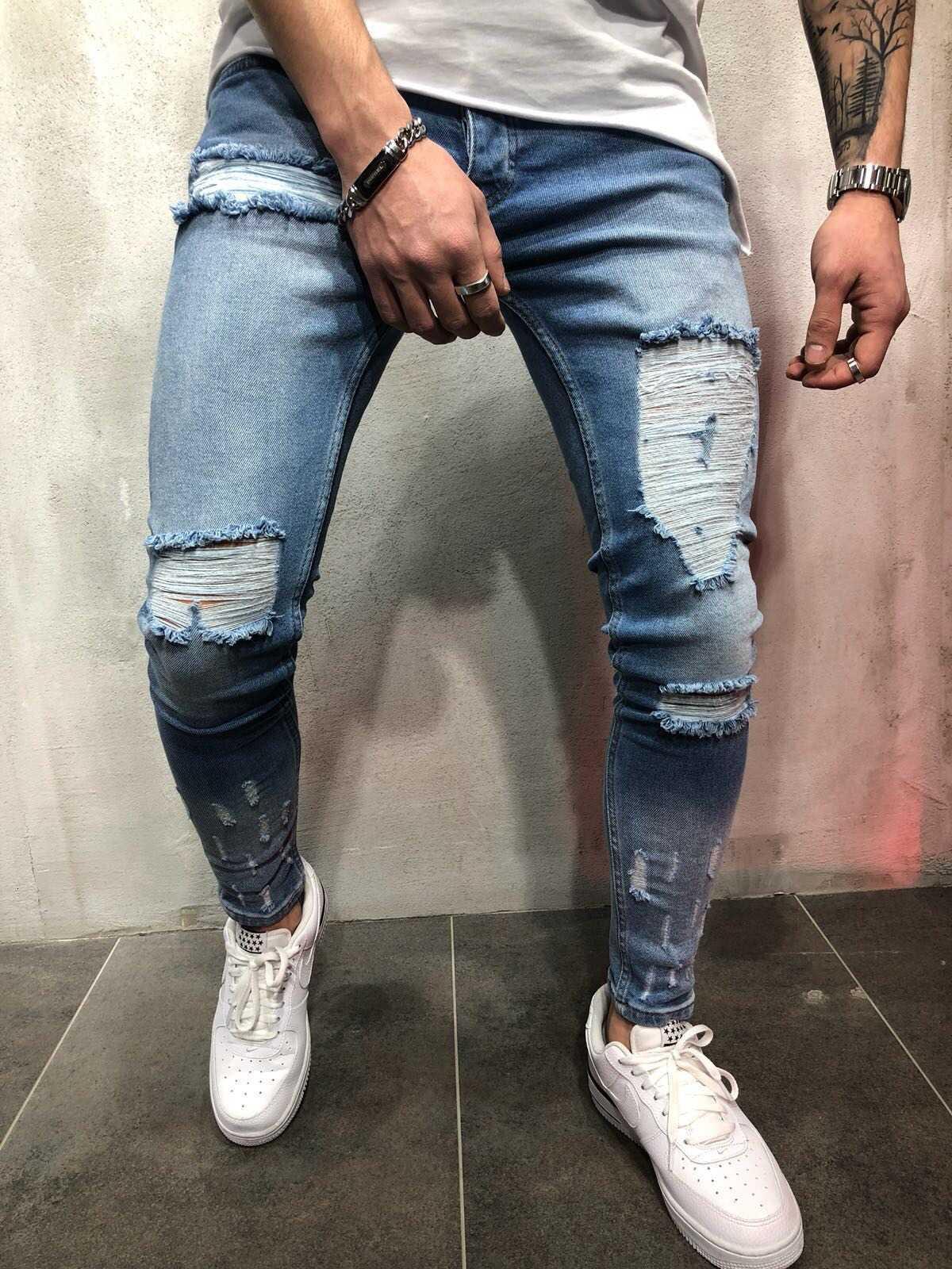 Erkek Yüksek Sokak Stil Uyluk Delik Elastik Slim Fit Küçük Bacak Kot Pantolon Kişilik Tasarım