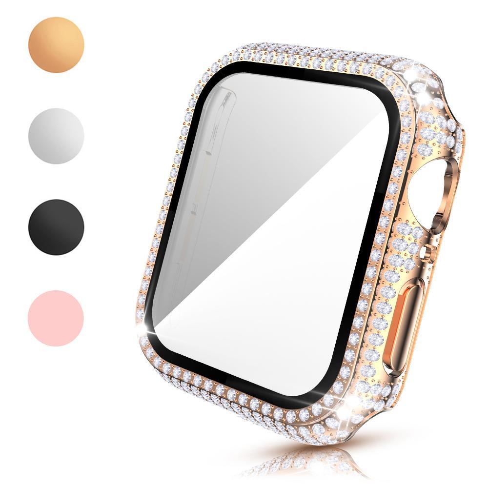 Filme de vidro Full Diamond PC Casos para Apple Watch Series 6 SE 5 4 3 Acessórios de caso Iwatch 40mm 44mm 38mm 42mm protetor de tela