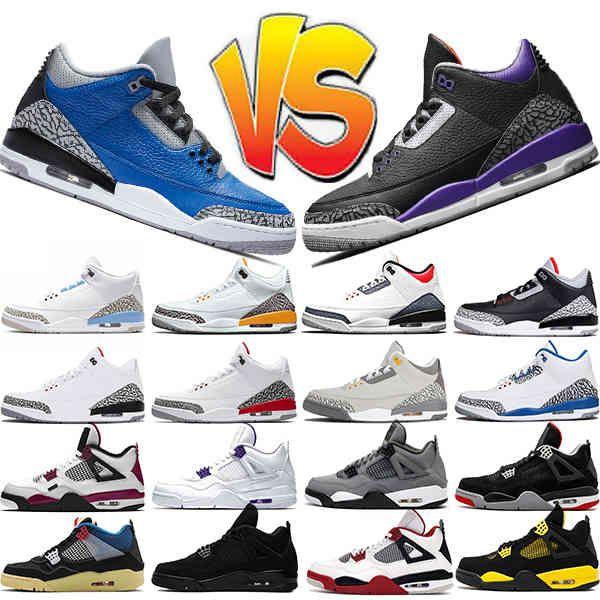 Jumpman Mens Baloncesto Zapatos Varsity Royal Court Purple Negro Cemento Fuego Rojo UNC 4S Neón Lo que los hombres entrenadores zapatillas deportes 40-47