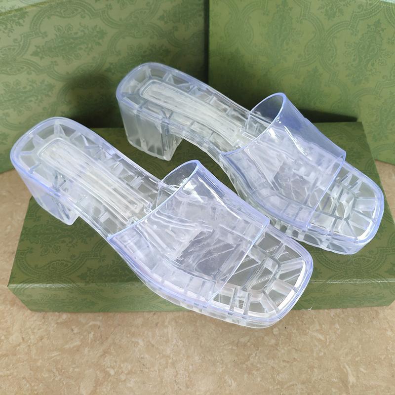 젤리 럭셔리 여성 투명 슬리퍼 크리스탈 샌들 플랫 슬라이드 하이힐 슬리퍼 여름 해변 두꺼운 바닥 푸시 플랫폼 알파벳 신발 플립 플롭 267