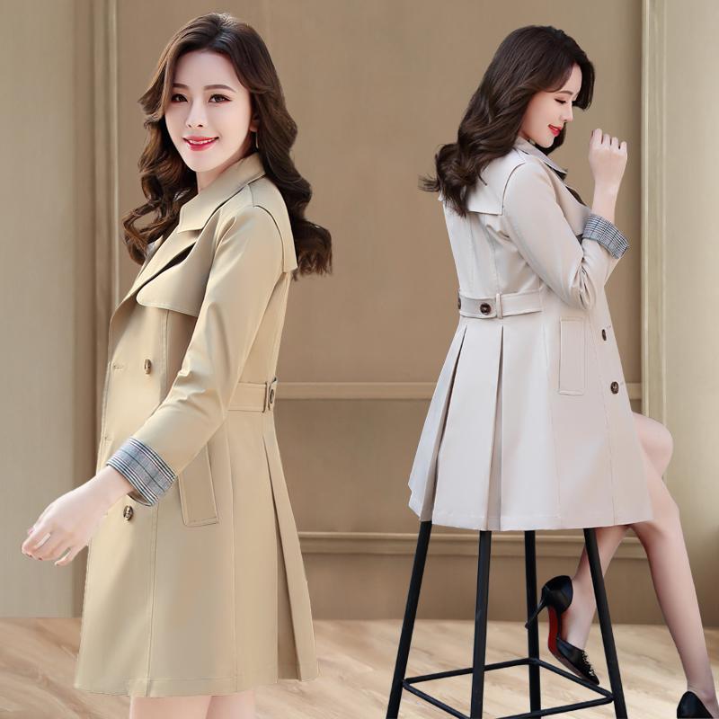 المرأة الخندق معاطف المرأة 2021 ربيع الخريف أزياء معطف رأ السيدات أنيقة ضئيلة واقية مزدوجة الصدر عارضة قميص فام x111