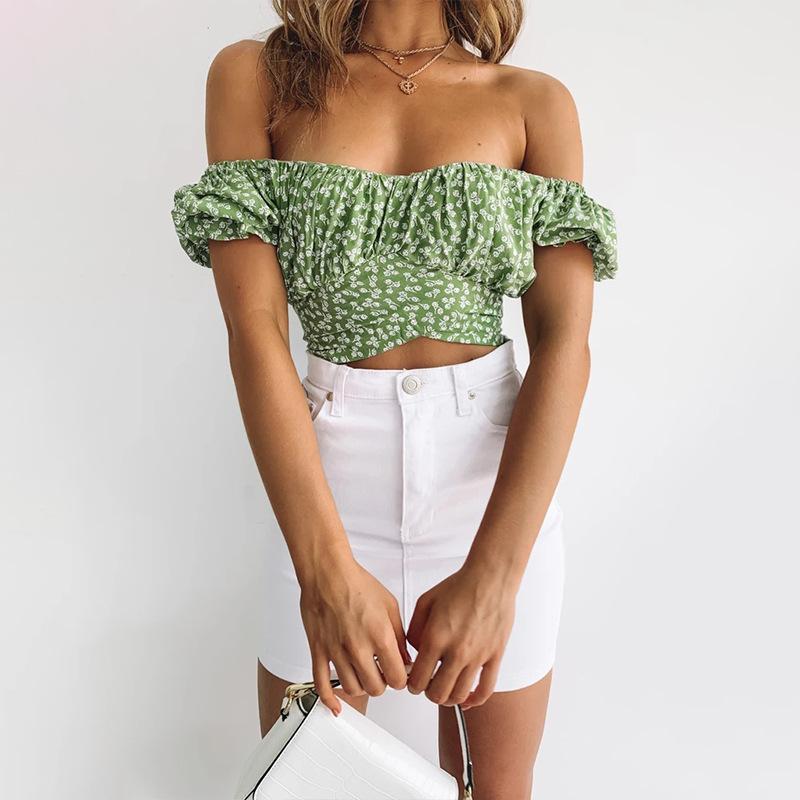 Camisa floral top mujeres collar cuadrada elegante pétalo manga corbata amarre cultivo verano verde camisas casual 2021 moda calle camiseta mujer