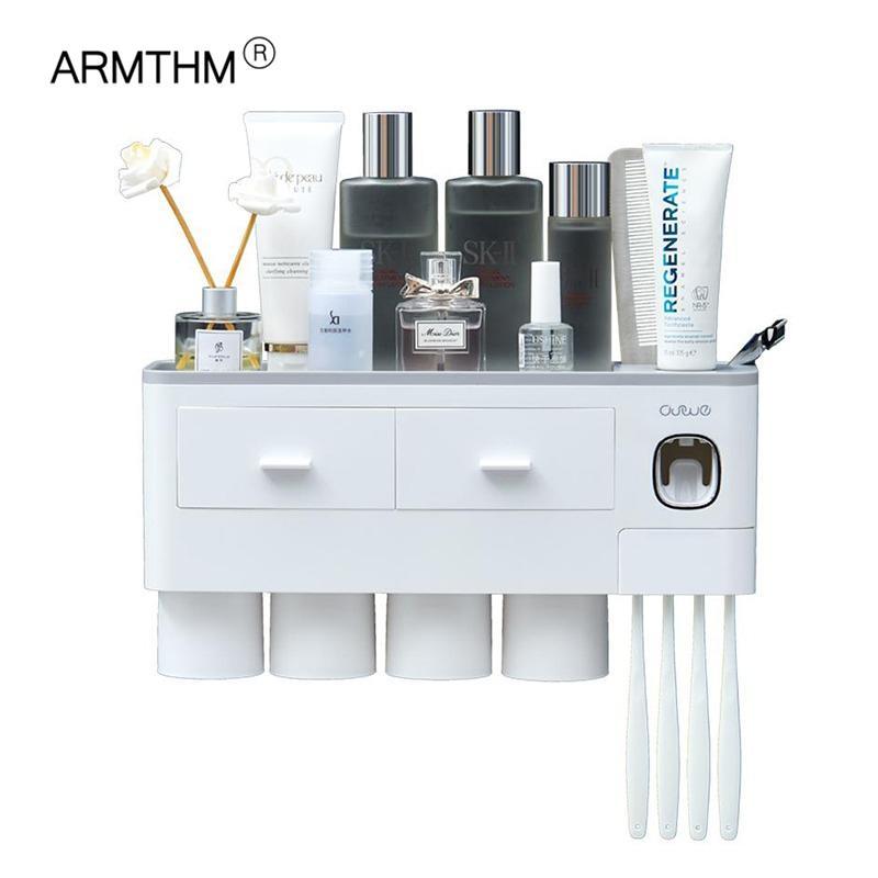 Titular da escova de dentes montagem na parede Adsorção magnética invertido dentífrico Dispenser Dispenser Maquiagem armazenamento de maquiagem para acessórios de banheiro definido 210322
