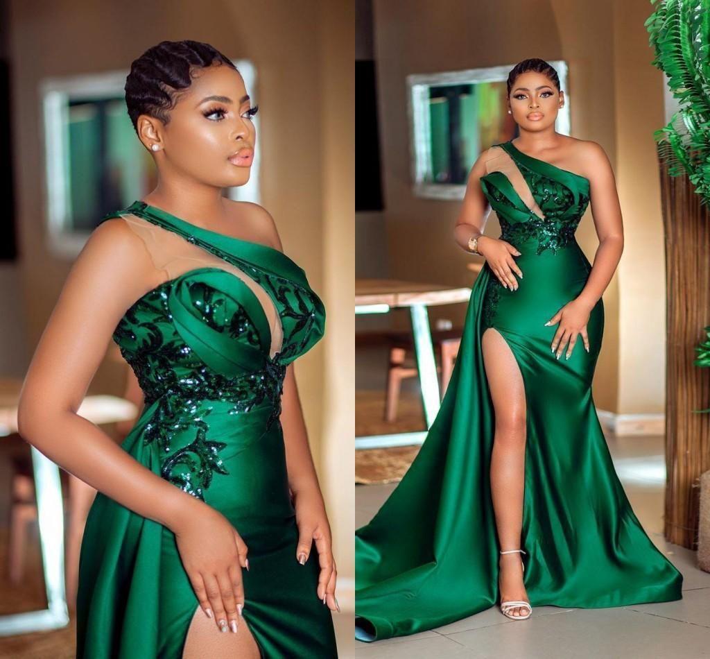 사냥꾼 녹색 하나의 Shoudler Neckline 이브닝 드레스 2021 하이 사이드 스플릿 긴 스윕 Vestidos de Fiesta Arabic Aso Ebi Prom Dress