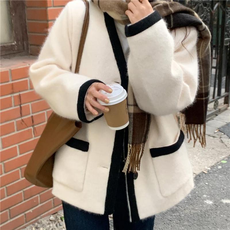 Kış Ceket Bayan Boy Moda Kaşmir Yün Palto Giyim Kadın Kısa Kalınlaşma Sıcak Yün Palto Kadınlar Siper Kadın Ceketler