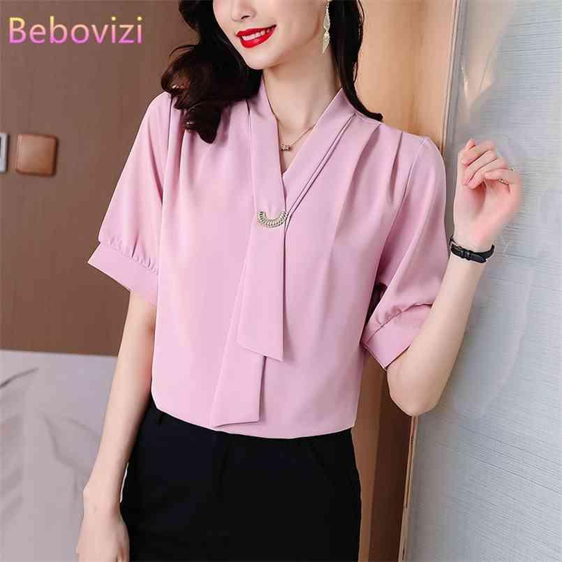 Plus Größe M-5XL Weiß Rot Grün Rosa Koreanische Mode Chiffon Sommer Casual Kurzarm Bluse Tops für Frauen Büro Lady 210603