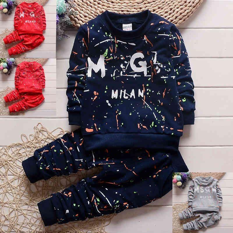 3 colors Toddler Baby Boys Clothes T Shirt+Pants Kids tracksuit set boys Sportswear autumn kids designer clothes sets 1-4Years