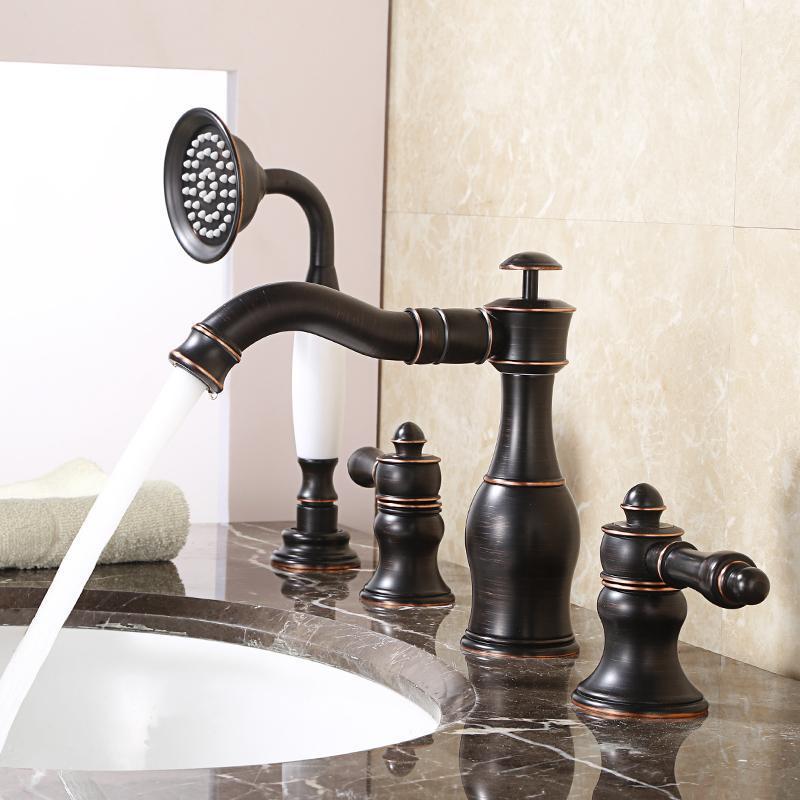 Nero Quattro PCS Bathtub Faucet Deck Mount Doppi Maniglie a mano Spruzzatore a mano Brass Brass Miscelatore Bagno Rubinetti Doccia Set di rubinetti per lavello