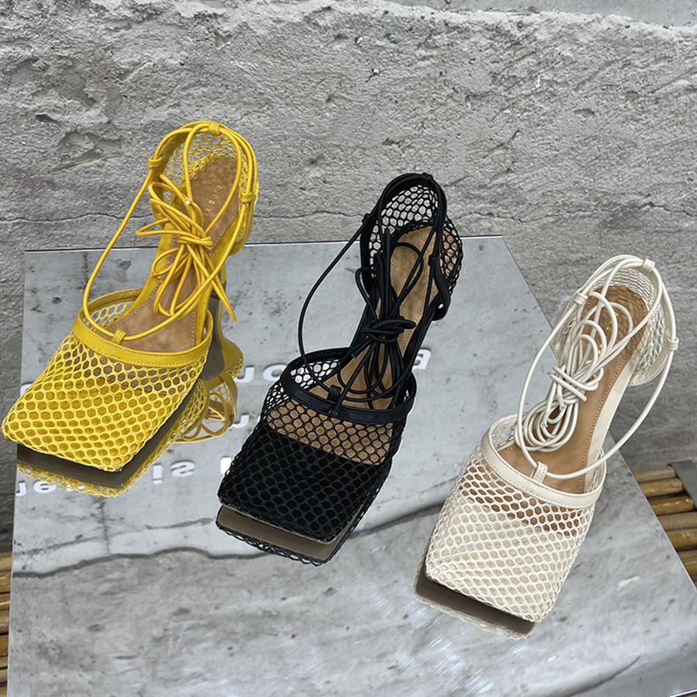2021 Новая мода сетка гладиатор сандалии женщин женская обувь дышащая сетка квадратная носящая туфли дамы высокие каблуки