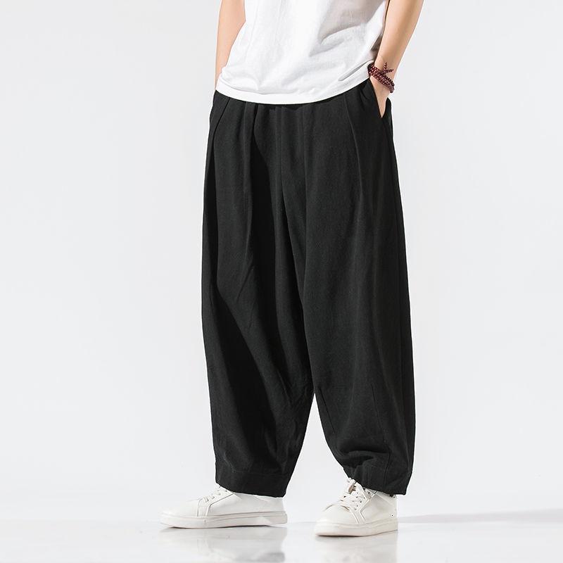 Calças masculinas mrgb estilo chinês homens bordados largo perna knickerbockers linho algodão macho calças soltas casuais retro harem