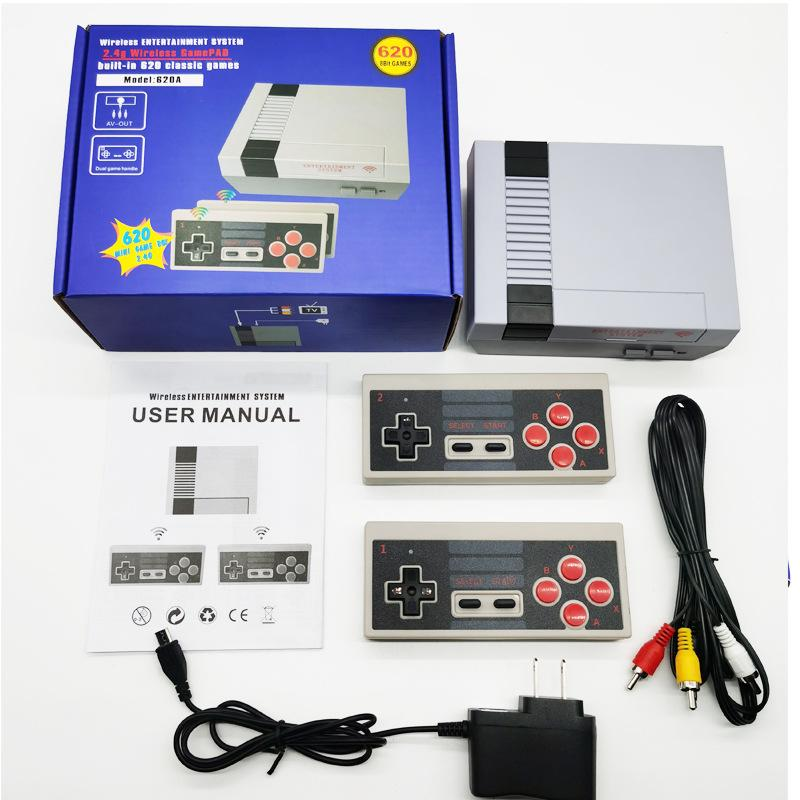 620in1 Nostalgic host 8 Bit 2.4G Wireless Video Game Consoles can store 620 games Retro TV Console Box AV Output Dual Player Controller