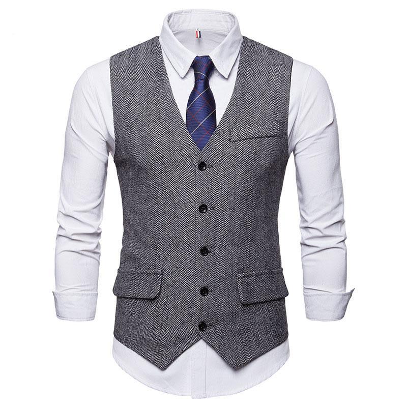 남자 정장 조끼 공식적인 비즈니스 드레스 남성 패션 5 버튼으로 계층화 된 정기적 인 맞는 허리 코트 조끼 턱시도 용 3 포켓