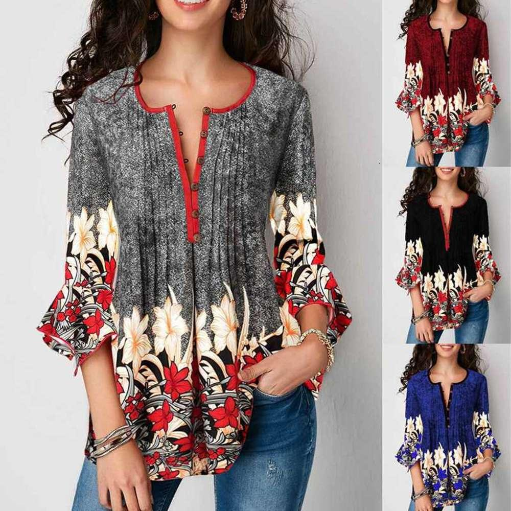 Summer Women Print Short Sleeve Blouses Shirts For Women Casual Loose Ladies Tops Female Blouse Plus Size Clothing 5XL