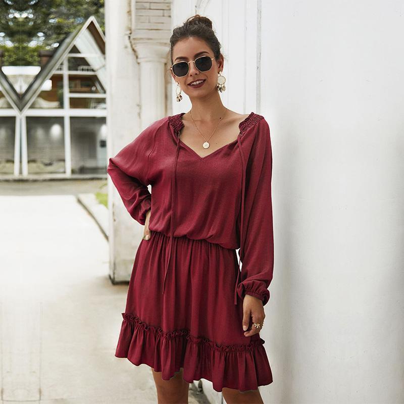 캐주얼 드레스 봄 여름 솔리드 드레스 여성 Full Sleeve V 넥 아늑한 주름 무릎 길이 숙녀 사무실 숙녀