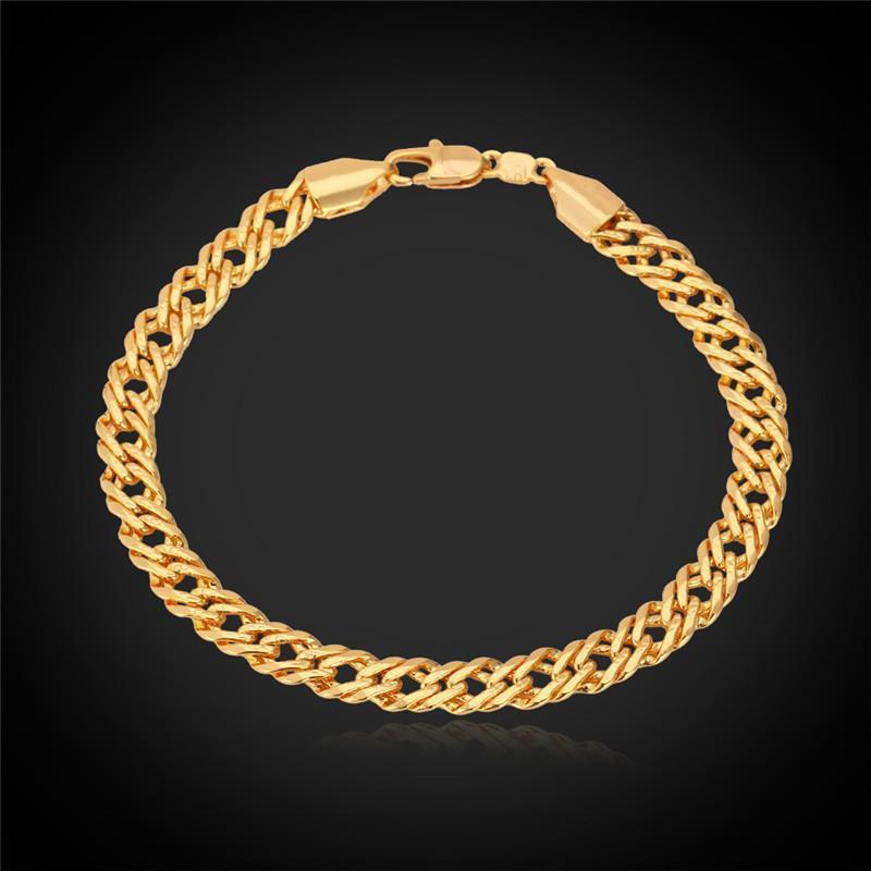 Erkekler Kadınlar için Venedik Zincir Bilezik Trendy Takı 6mm 21 cm 3 Renk Gül Gold H442 Bağlantı,