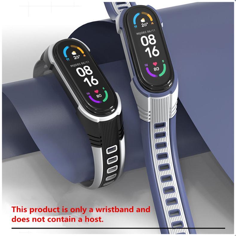 Smart Straps Suitable for Mi Band 3/4 6/5 Strap Wristband Universal 3 Generation Silicone Double Color Original
