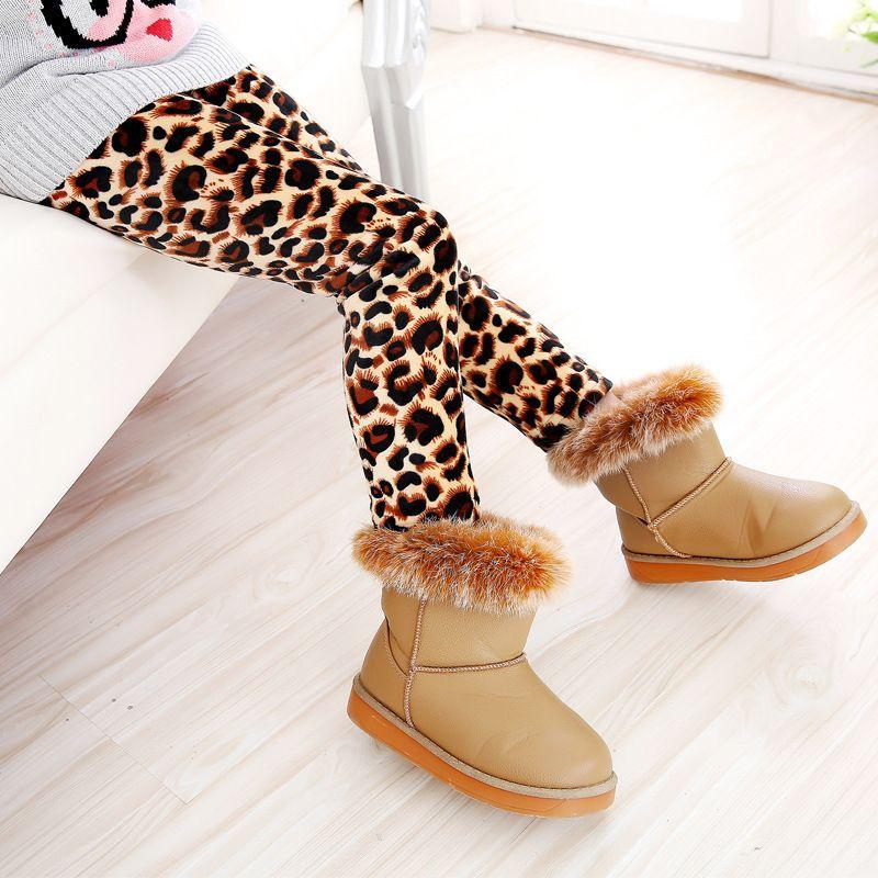 Children Double Faced Velvet Leggings Girl Autumn Winter Leopard Print Sun Flower Pattern Thickening Fashion Warmer Trousers 10 5hc J2