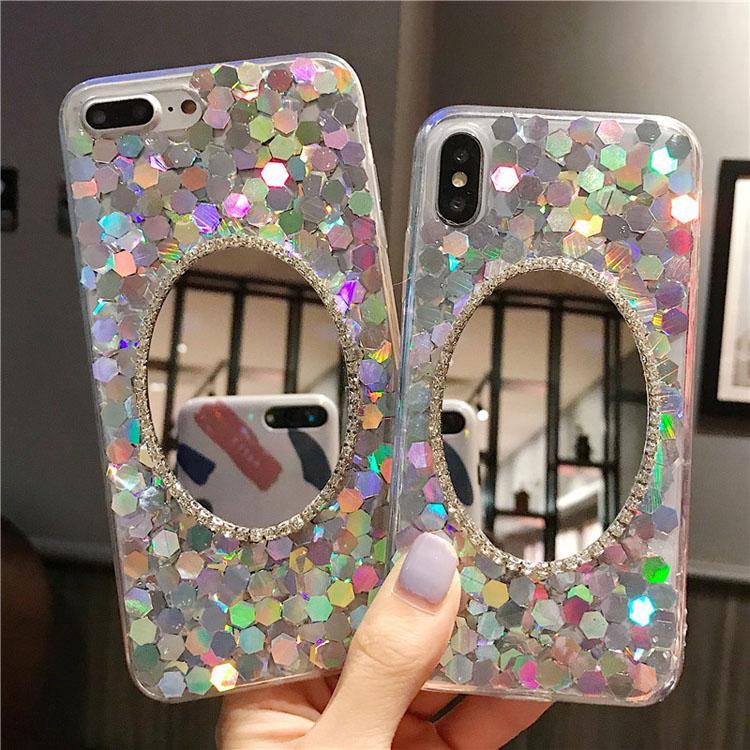 Paillettes Confetti Flake Phone Cases Oval Cosmetic Specchio Coperchio Diamond Glitter Premium Rhinestone Case per iPhone x XR 11 12 Pro max