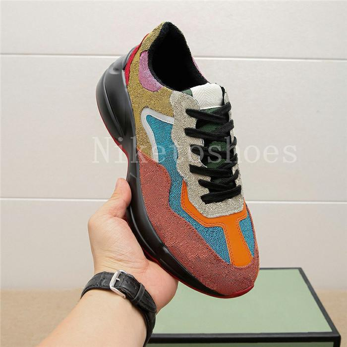 Rhyton Multicolor Sneaker Dicke Sohle Dad Schuhe Italien Luxurys Multicolor Canvas Chunky Sole Rhyton Vintage Clunky Sneaker Designer