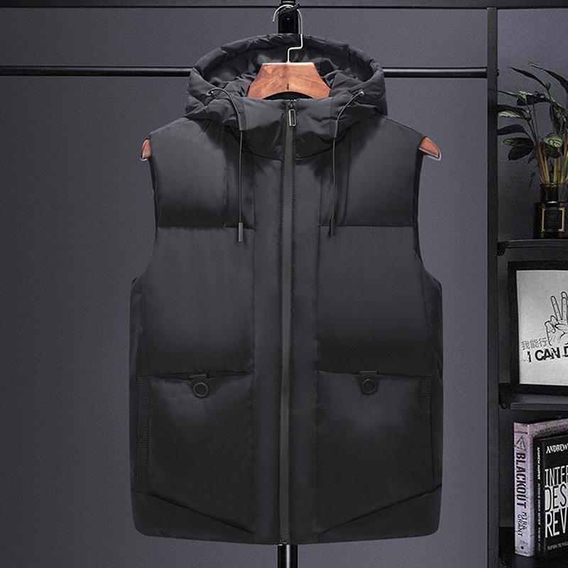 Otoño e invierno chaleco deportivo de hombre chaleco de chaleco de moda sin mangas de algodón sin mangas de algodón con capucha engrosada hombres más tamaño 7xl chalecos