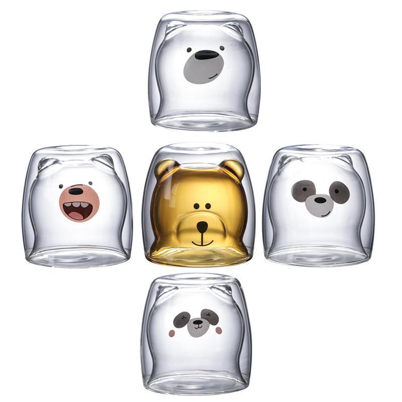 Cute Christmas Tree Mug Double Wall Glass Coffee Cups with Silocone Lid Snowflake Star Xmas Gift Wine Tea Milk Water Tumbler 2057 V2