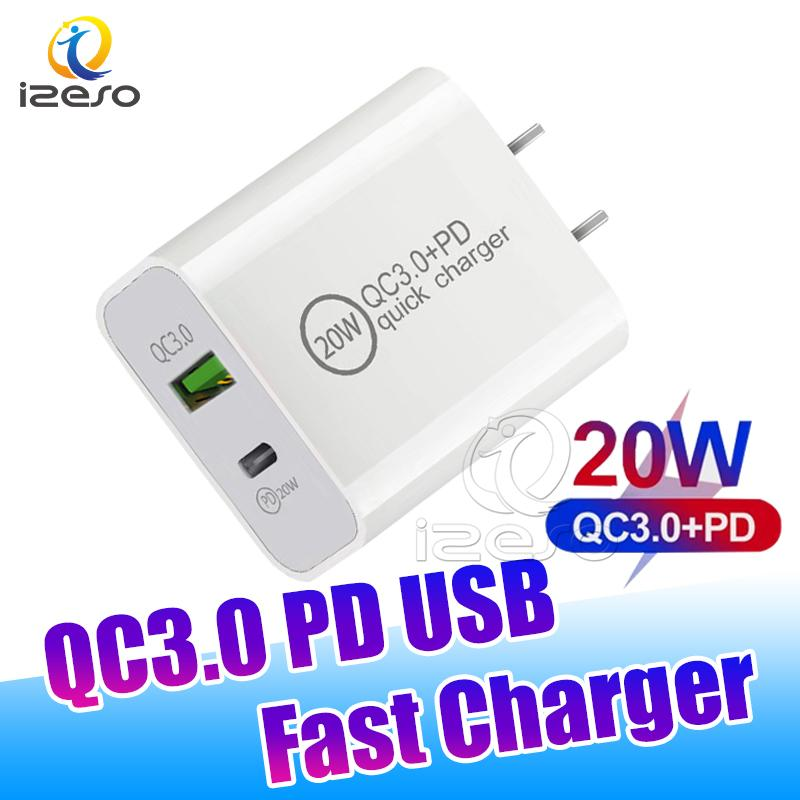 20W Quick Charger QC3.0 Type C USB PD Wall Charge EU US Plugs Fast Charging Adapter for iPhone 13 12 Pro Max izeso