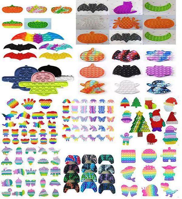 Fidget Toys Sensory Halloween christmas Pumpkin ghost animal colorful Push Bubble Anti Stress Educational Children Adults Decompression Toy Surprise wholesale