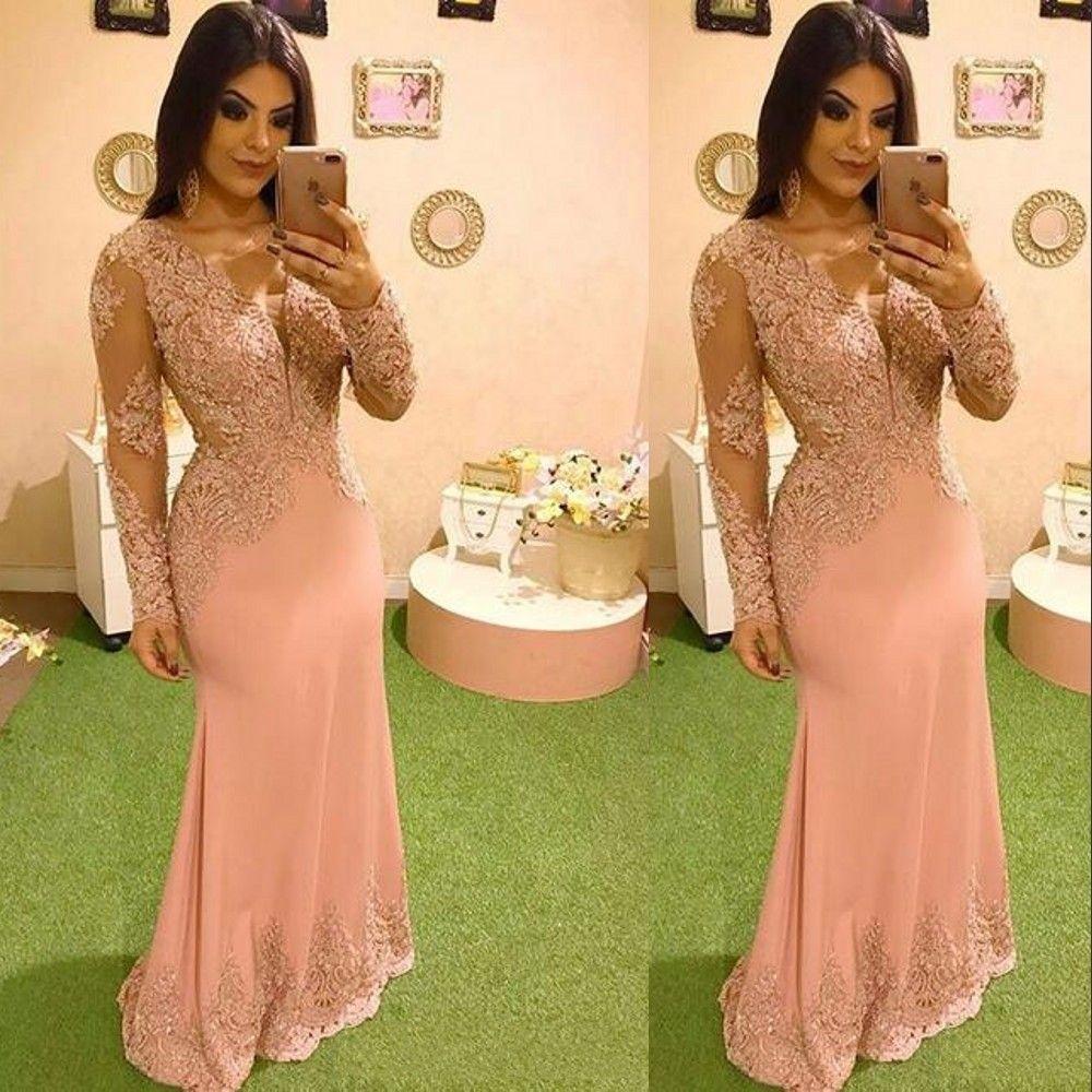 2021 블러쉬 핑크 이브닝 드레스 섹시한 V 목 환상 레이스 아플리케 크리스탈 비즈 인어 긴팔 공식 파티 드레스 댄스 파티 드레스