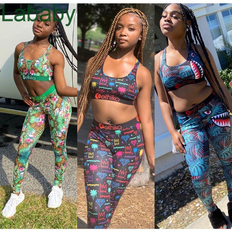 Women Designer Swimsuit Crop Top Vest + Swim pants Trunks Boxers 2 Piece Set Tracksuit Patchwork Shark Camo Swimwear