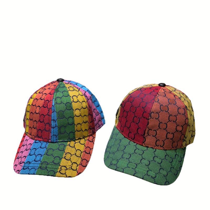 Caps Caps Rainbow Ball Designer Doppia lettera Doppia lettera Snapback Uomo Donna Tappo sportivo regolabile con tags unisex golf cappello curvo multi colore