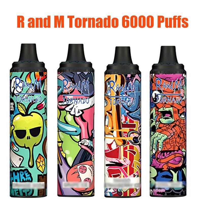 Vape descartável 6000 puffs barras randm tornado e dispositivo de cigarro pod 12 ml capatity 850mAh bateria recarregável controle de fluxo de ar vs barra geek bang xxl