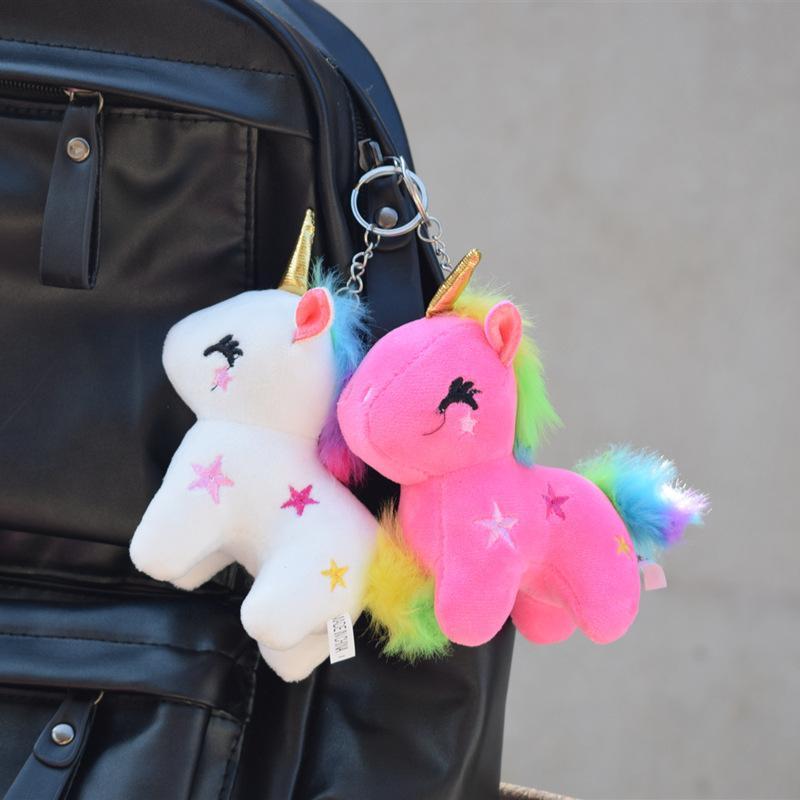 Anahtarlıklar Gökkuşağı Unicorn Bebek Peluş Oyuncak Küçük Kolye Mini Bebek Schoolbag Anahtarlık Parmak Kuklaları Karikatür Anahtarlık Oyuncaklar Kid G31907