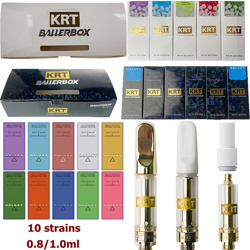 KRT Emballage de cartouche Vape Vape Emballage 0.8ml 1 ml Cartouches en céramique Réservoir de verre DAB DAB DAB Pen Vaporisateur E Cigarette 510 Batterie