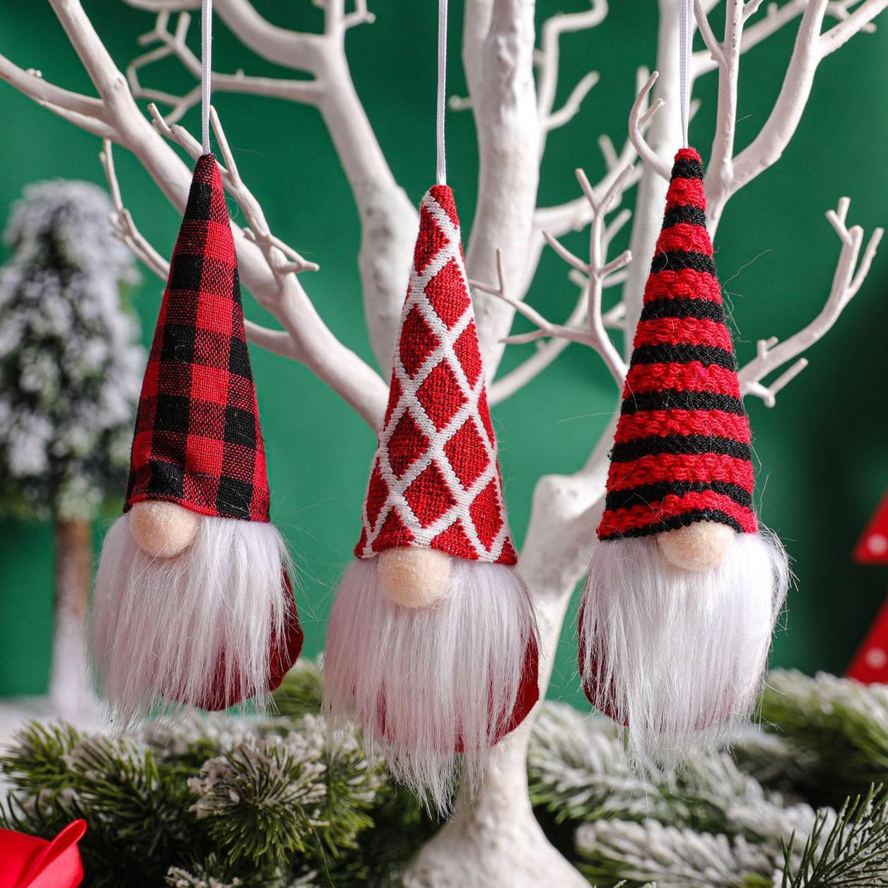 3 morceaux / Set Doll sans visage Décorations de Noël à la main Main mignon peluche douce peluche de Noël décor maison pendentifs pendants fy4824
