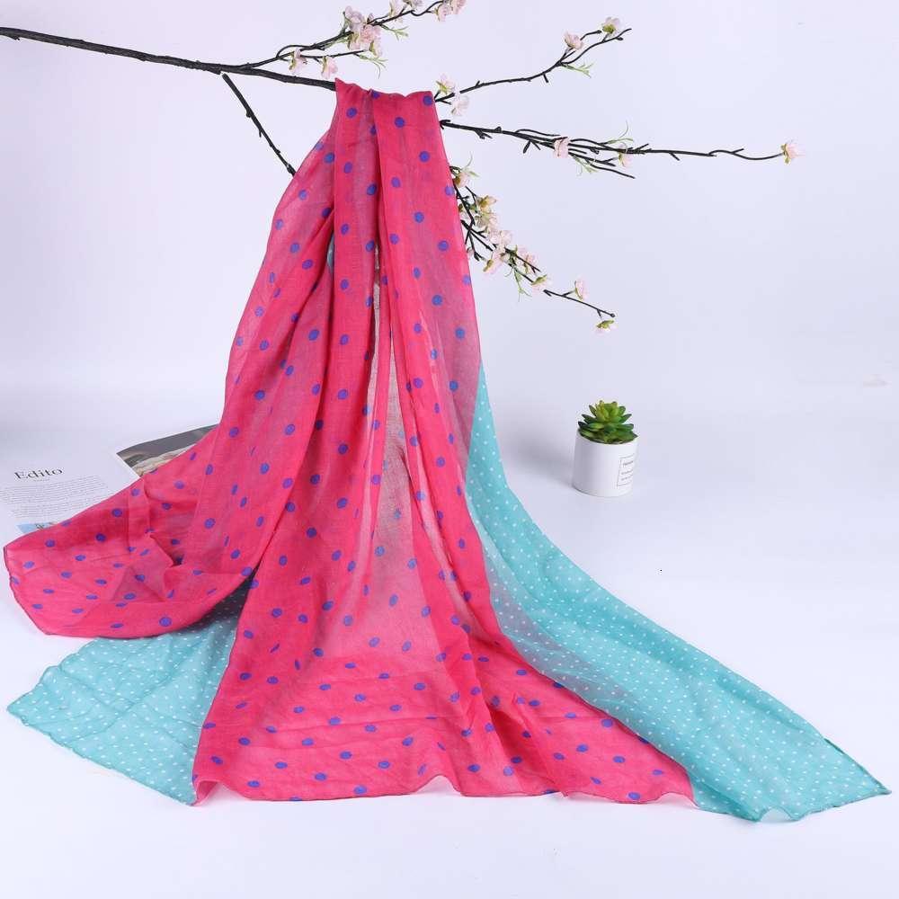 جودة عالية designermiyu اللباس البالية جولة وشاح المرأة الحرير موجة بسيطة دوت شال منشفة واقية من الشمس