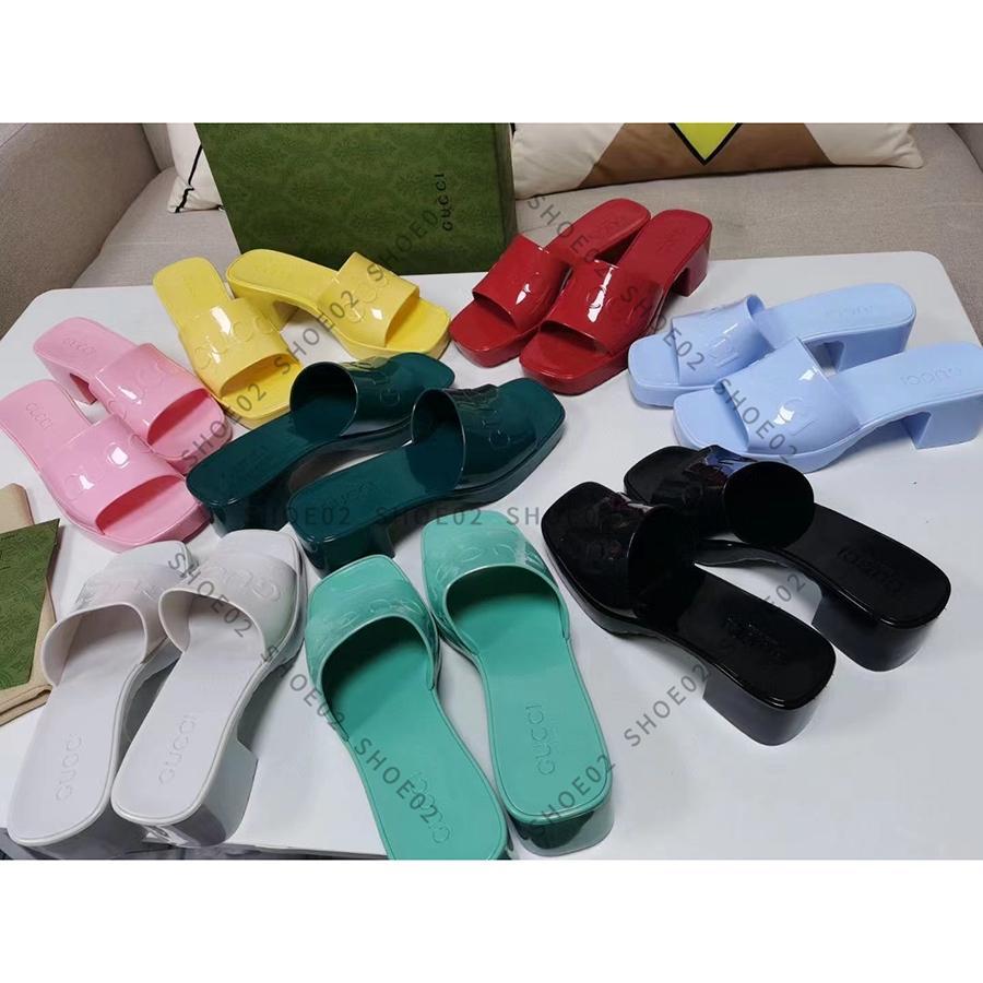 Kadın Tasarımcı Terlik Moda Sandalet Plaj Kalın Alt Terlik Platformu Alfabe Lady Yüksek Topuk Slaytlar ayakkabı02 01
