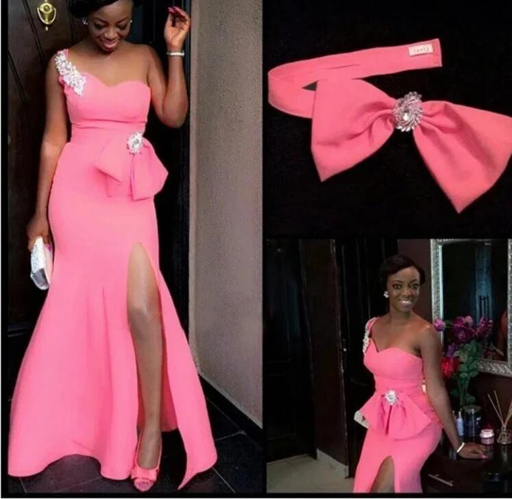 Hot Pink Mermaid African Bridesmaid Dresses With Bow One Shoulder Side high Slit Plus Size Maid Of Honor Wedding Party Dress custom made