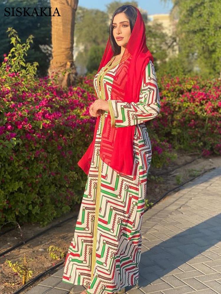 체인 프린트 여자를위한 Abaya 드레스 패션 무슬림 두바이 Eid Jalabiya Moroccan Kaftan Oman 터키 아랍어 이슬람 의류 2021