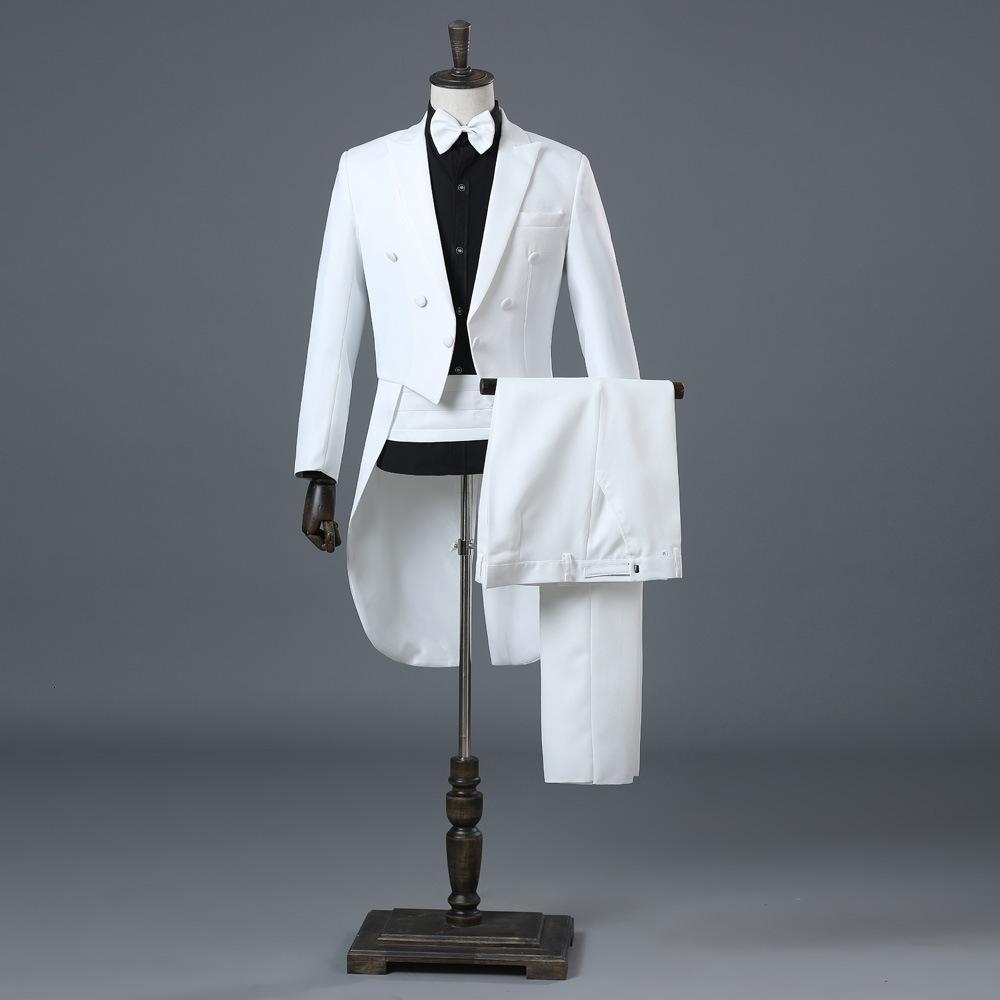 Beyaz Düğün Damat Smokin Kruvaze Tailcoat Elbise Takım Elbise Erkekler Terno Masculino Sahne Şarkıcı Erkek Takım Elbise Pantolon
