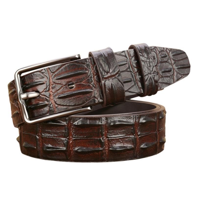 Fashion Luxury Skin Design Men Belt Genuine Leather Pin Buckle Alligator Jeans Belts For Men's 210917