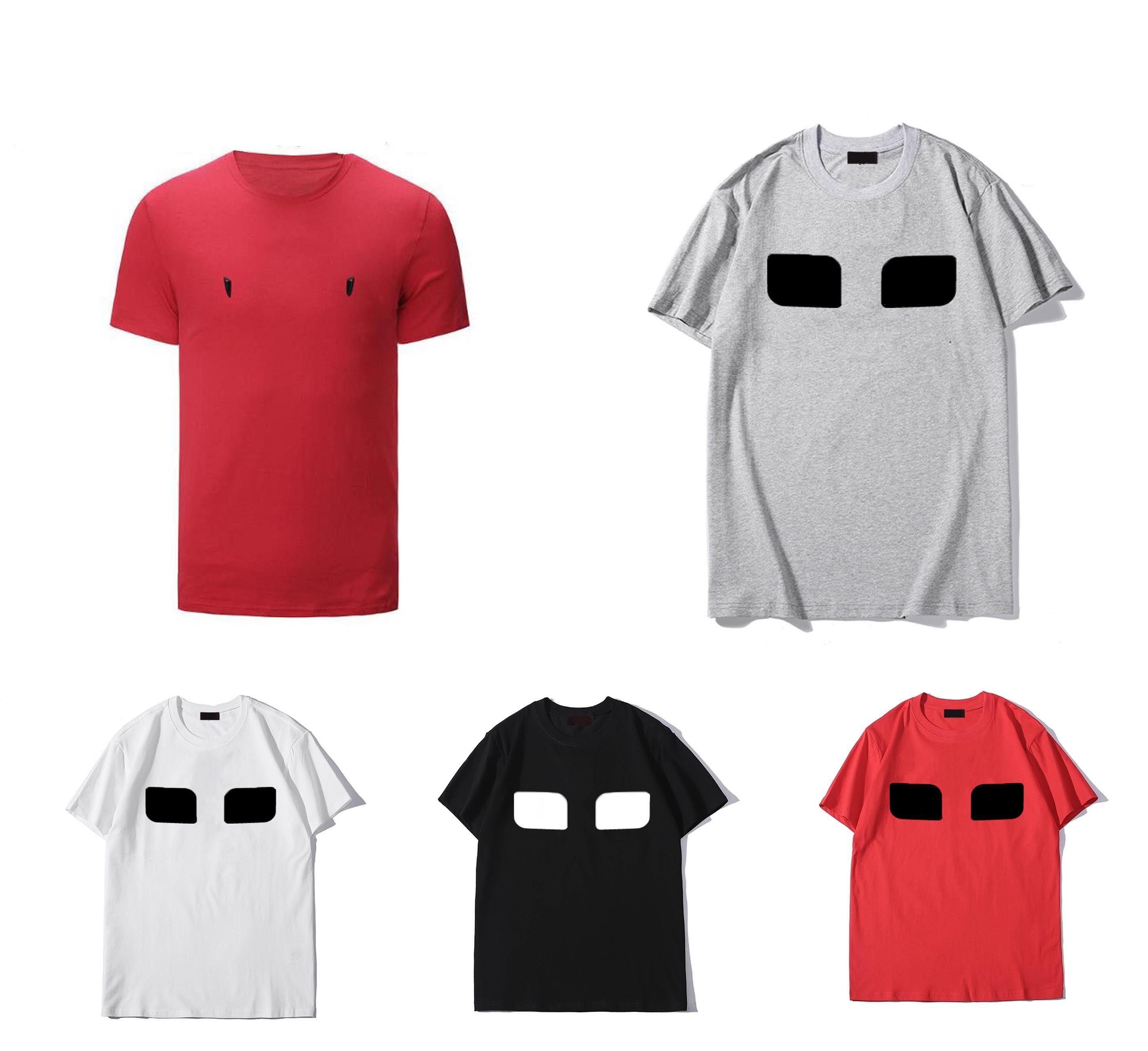 عيون الرجال القمصان الصيف قصيرة الأكمام الأزياء المطبوعة قمم عارضة الرجال تيز طاقم الرقبة الملابس 21ss 7 ألوان M-3XL