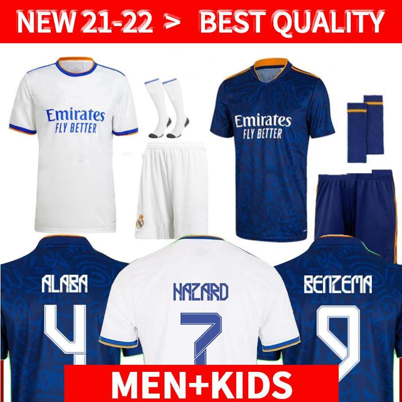 Aldult + Kids Kit Real Madrid Jerseys 21 22 Fußball Fussball Hemden Alaba Gefahren Benzem Asensio Modric Marcelo Camiseta 2021 2022 Männer