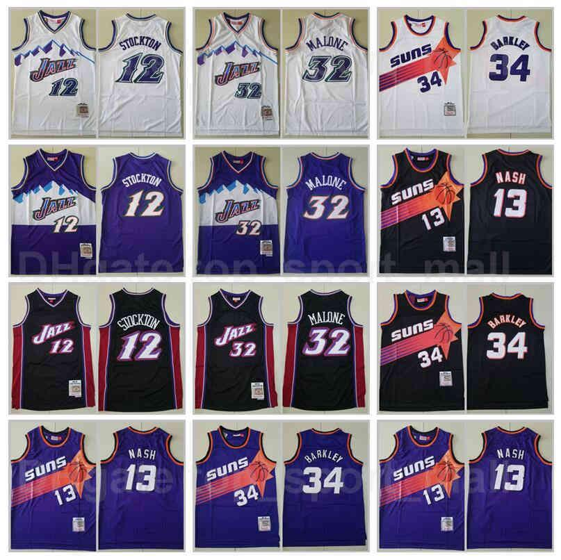 Mitchell Ness Baloncesto John Stockton Jersey 12 Karl Malone 32 Steve Nash 13 Charles Barkley 34 Color Púrpura Blanco Blanco Vintage cosido bueno