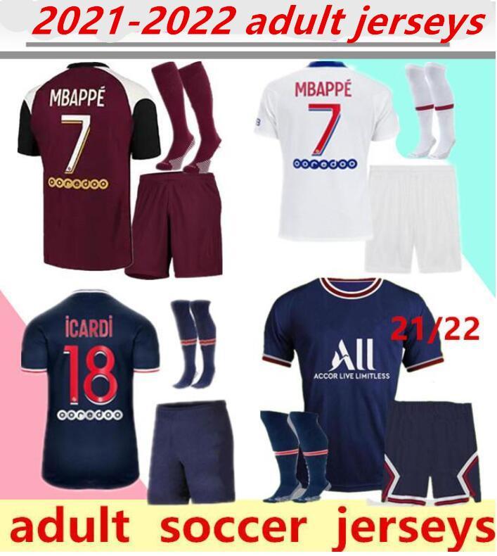2021/2022 Futbol Formaları Yetişkin Seti 20/21 MBappe Ev Uzakta Üçüncü 4th Cavani Maillot de Foot Paris Yetişkin Gömlek Erkekler Kiti.