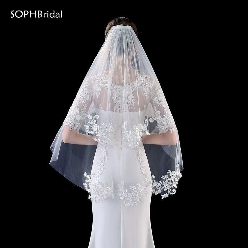 Bridal Veils Arrival Two-Layer Lace Applique Wedding Veil Headwear Accessories Voile Mariage Velos De Novia Wesele